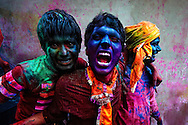 A group of boys having fun at the Festival of Colors - Holi, India.