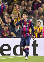 Fotball<br /> Tyskland<br /> 06.05.2015<br /> Foto: imago/Digitalsport<br /> NORWAY ONLY<br /> <br /> Babybauch Jubel von Lionel Messi (Barca)<br /> <br /> Fussball, Champions League, Halbfinale Hinspiel, FC Barcelona - FC Bayern München