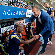 Istanbul Basaksehir's coach Abdullah Avci (R) during their Turkish Super League soccer match Istanbul Basaksehir between Fenerbahce at the Basaksehir Fatih Terim Arena at Basaksehir in Istanbul Turkey on Monday, 25 May 2015. Photo by Aykut AKICI/TURKPIX