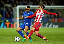 Danny Simpson of Leicester City is tackled Antoine Griezmann of Atletico Madrid - Mandatory by-line: Robbie Stephenson/JMP - 18/04/2017 - FOOTBALL - King Power Stadium - Leicester, England - Leicester City v Atletico Madrid - UEFA Champions League Quarter-Final Second Leg
