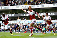 Fulham's Steve Sidwell celebrates after he scores  his sides first goal of the game . Barclays premier league match ,Tottenham Hotspur v Fulham at White Hart Lane in Tottenham, London  on Saturday 19th April 2014.<br /> pic by John Patrick Fletcher, Andrew Orchard sports photography.