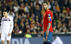 March 23, 2019 - Valencia, Community of Valencia, Spain - Spain's Sergio Ramos seen in action during the Qualifiers - Group B to Euro 2020 football match between Spain and Norway in Valencia, Spain. Spain beat Norway, 2-1 (Credit Image: © Manu Reino/SOPA Images via ZUMA Wire)