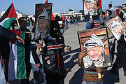 Members of Fatah celebrating for the first anniversary of the death of former Palestinian leader Yasser Arafat at the Palestinian Authority (PA) headquarter, last residence and burial site of Yasser Arafat, in the Palestinian capital Ramallah, on Friday, Nov. 11, 2005. Here a mausoleum and a museum in his honour will be built soon. **ITALY OUT**