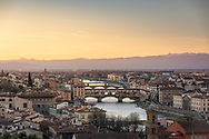 Panoramic view of Florence, Tuscany, Italy including the Ponte Vecchio and the river Arno seen from Piazzale Michelangelo.<br /> Picture date: Saturday February 23, 2019.<br /> Photograph by Christopher Ison ©<br /> 07544044177<br /> chris@christopherison.com<br /> www.christopherison.com