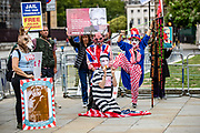 A group of jailed Australian journalist Julian Assange supporters are protesting in front of the British parliament in central London, on Wednesday, July 15, 2020 - demanding Assange's immediate release from Belmarsh Prison in England. (VXP Photo/ Vudi Xhymshiti)