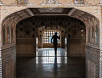 JAIPUR, INDIA - CIRCA NOVEMBER 2018: Guard in the Amber Fort. Jaipur is the capital and the largest city of the Indian state of Rajasthan. Jaipur is also known as the Pink City, due to the dominant color scheme of its buildings and a popular tourist destination.