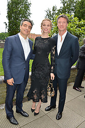 Left to right, TAREK KHLAT, EVA HERZIGOVA and GREGORIO MARSIAJ at an Evening at The River Cafe in aid of the NSPCC held at The River Cafe, Thames Wharf, Rainville Road, London on 19th June 2016