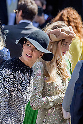 Pierre Casiraghi's wife Beatrice Borromeo and Charlotte Casiraghi at the wedding ceremony of heir of the throne of German House of Hanover, Prince Ernst August Jr. of Hanover, Duke of Braunscshweig and Lueneburg, and Russian designer Ekaterina Masysheva at the Marktkirche church in Hanover, Germany, 08 July 2017. The son of Prince Ernst August of Hanover Sen., who is married to Princess Caroline of Monaco, is related to several royal houses in Europe. The House of Hanover is a German royal dynasty that also ruled the United Kingdom between. Ernst-August Sr.'s own father (Ernst-August IV) opposed his son's marriage to first wife Chantal, a Swiss commoner. Photo by Robin Utrecht/ABACAPRESS.COM