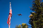 Air Force One flying over the new visitor center in Grand Teton National Park, Wyoming.