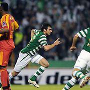 Bursaspor's Turgay BAHADIR (C) celebrate his goal during their Turkish soccer super league match Bursaspor between Kayserispor at Ataturk Stadium in Bursa Turkey on Saturday, 01 May 2010. Photo by TURKPIX
