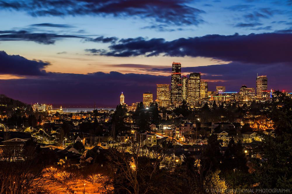 Seattle Skyline Blue Hour Dynamic