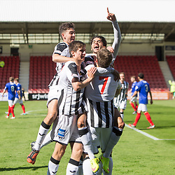 Dunfermline's Faissal El Bahktaoui cele scoring their first goal. <br /> Dunfermline 7 v 1 Cowdenbeath, SPFL Ladbrokes League Division One game played 15/8/2015 at East End Park.