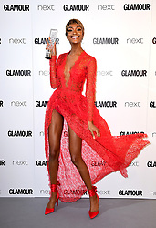 Jourdan Dunn with the Entrepeneur Award in the press room at the Glamour Women of the Year Awards 2017, Berkeley Square Gardens, London.