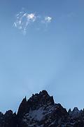 Craggy peaks above the Mer de Glace glacier, near Chamonix, French Alps.