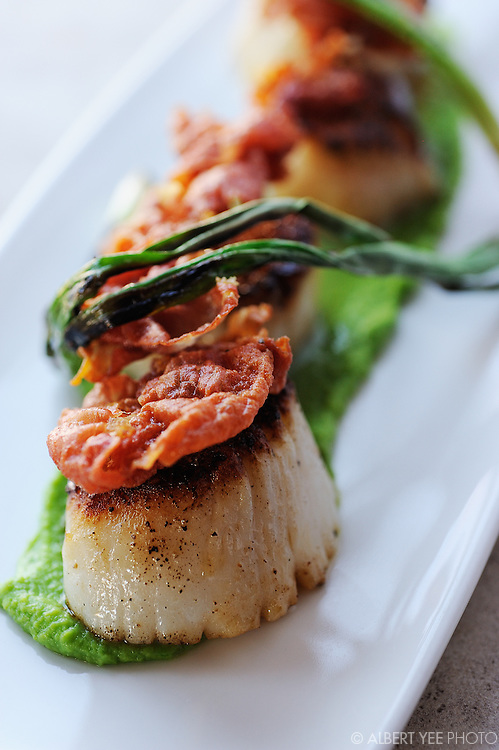 Scallops, pea puree, crispy proscuitto, grilled scallions<br /> <br /> The Yardley Inn<br /> <br /> February 28, 2014