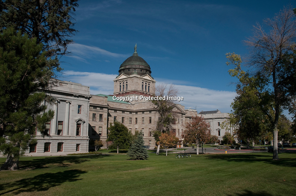 The rear view of the Montana state capital bulding in Helena, Montana.  The building was completed in 1902.