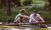 Molesey, Great Britain. GBR M2+. Bow Jonny SEARLE,  Stroke Greg SEARLE and cox Gary HERBERT 1992 British International Rowinig Training on the Molesey Reach, Surrey.  Went on to be Gold Medalist at the Barcelona Olympic Regatta later in the year.  [Mandatory Credit. Peter Spurrier/Intersport Images] +1992 +Molesey +Henley 1992 GBRowing Training, Molesey/Henley, United Kingdom