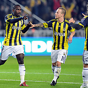 Fenerbahce's Mamadou NIANG (L) celebrate his goal with team mate during their Turkish superleague soccer match Fenerbahce between Konyaspor at the Sukru Saracaoglu stadium in Istanbul Turkey on Sunday 13 March 2011. Photo by TURKPIX