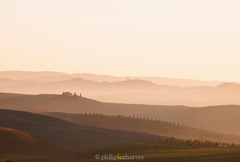 The beautiful hilly landscape of Tuscany at dawn near Montalcino, Italy
