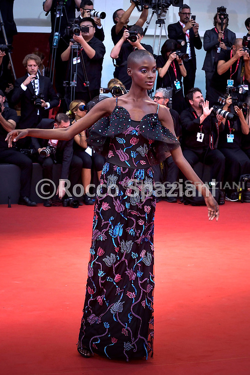 """VENICE, ITALY - AUGUST 31: Madisin Rian walks the red carpet ahead of the """"Joker"""" screening during the 76th Venice Film Festival at Sala Grande on August 31, 2019 in Venice, Italy."""