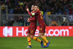 November 27, 2018 - Rome, Italy - AS Roma Italian midfielder Alessandro Florenzi (R) comforts AS Roma Turkish forward Cengiz Under after he missed a goal   during the Champions league football match between AS Roma  and Real Madrid at Olimpico stadium in Rome, Italy, on November 27, 2018. (Credit Image: © Federica Roselli/NurPhoto via ZUMA Press)