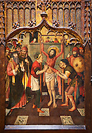 Gothic Altarpiece of, left to right, the martydom of St Bartholomew, Calvaty and the deat of St Mary Magdelene, by Jaume Huguet, Barcelona circa 11465-1480, tempera and gold leaf on for wood, from the church of San Marti de Petegas de san Seloni, Valle Oriental, Spain.  National Museum of Catalan Art, Barcelona, Spain, inv no: MNAC   24365. .<br /> <br /> If you prefer you can also buy from our ALAMY PHOTO LIBRARY  Collection visit : https://www.alamy.com/portfolio/paul-williams-funkystock/gothic-art-antiquities.html  Type -     MANAC    - into the LOWER SEARCH WITHIN GALLERY box. Refine search by adding background colour, place, museum etc<br /> <br /> Visit our MEDIEVAL GOTHIC ART PHOTO COLLECTIONS for more   photos  to download or buy as prints https://funkystock.photoshelter.com/gallery-collection/Medieval-Gothic-Art-Antiquities-Historic-Sites-Pictures-Images-of/C0000gZ8POl_DCqE
