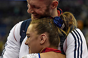 Amy Tinkler of Great Britain (GBR) is overcome with emotion after winning the Bronze Medal during the iPro Sport World Cup of Gymnastics 2017 at the O2 Arena, London, United Kingdom on 8 April 2017. Photo by Martin Cole.