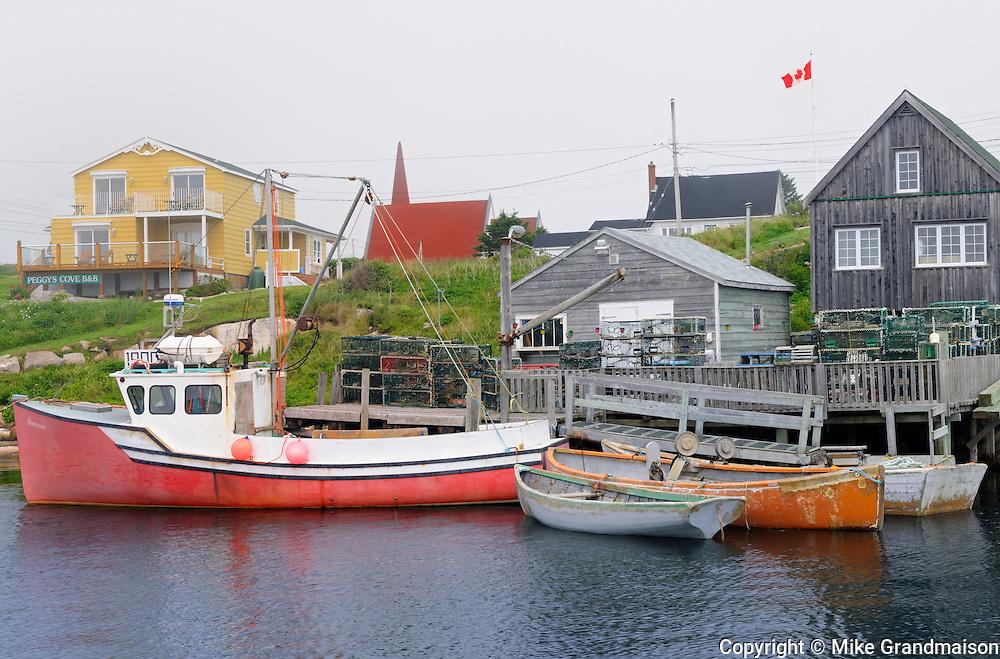 Boats in historic fishing village<br /> Peggy's Cove<br /> Nova Scotia<br /> Canada