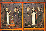 Close up of a Gothic painted Panel of the life of Saint Dominic, anonymous artist from Aragon. Tempera and varnished metal plate on wood. First quarter of 14th century. 134 x 193 x 8.3 cm. From the church of Sant Miquel de Tamarit de Llitera (Huesca). National Museum of Catalan Art, inv no: 015825-000.<br /> <br /> If you prefer you can also buy from our ALAMY PHOTO LIBRARY  Collection visit : https://www.alamy.com/portfolio/paul-williams-funkystock/romanesque-art-antiquities.html<br /> Type -     MNAC     - into the LOWER SEARCH WITHIN GALLERY box. Refine search by adding background colour, place, subject etc<br /> <br /> Visit our ROMANESQUE ART PHOTO COLLECTION for more   photos  to download or buy as prints https://funkystock.photoshelter.com/gallery-collection/Medieval-Romanesque-Art-Antiquities-Historic-Sites-Pictures-Images-of/C0000uYGQT94tY_Y