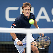 Tommy Robredo, Spain, in action against Roger Federer, Switzerland,  during the US Open Tennis Tournament at Flushing Meadows, New York, USA, on Monday, September 7, 2009. Photo Tim Clayton.