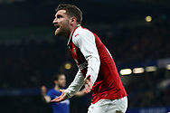 Shkodran Mustafi of Arsenal reacts. Carabao Cup , semi final 1st leg match, Chelsea v Arsenal at Stamford Bridge in London on Wednesday 10th January 2018.<br /> pic by Steffan Bowen, Andrew Orchard sports photography.