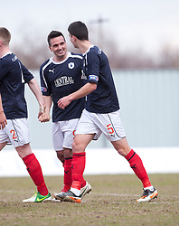Falkirk's Sean Higgins (9) cele scoring their third goal..Falkirk 4 v 0 Cowdenbeath, 6/4/2013..©Michael Schofield..