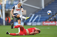 Preston North End's Jayden Stockley scores his sides opening goal to make the score 1-1<br /> <br /> Photographer Dave Howarth/CameraSport<br /> <br /> The EFL Sky Bet Championship - Preston North End v Birmingham City - Saturday 31st October 2020 - Deepdale - Preston<br /> <br /> World Copyright © 2020 CameraSport. All rights reserved. 43 Linden Ave. Countesthorpe. Leicester. England. LE8 5PG - Tel: +44 (0) 116 277 4147 - admin@camerasport.com - www.camerasport.com