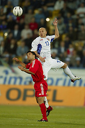 TEPLICE, CZECH REPUBLIC - Wednesday, April 30, 2003: Czech Republic's Patrik Gedeon in action against Turkey during a friendly match at the Teplice Stadion Na Stinadlech. (Pic by David Rawcliffe/Propaganda)
