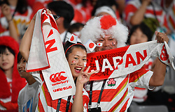 Japan fans in the stadium before the Pool A match between Japan and Russia at the Tokyo Stadium, Tokyo, Japan. Picture date: Friday September 20, 2019. See PA story RUGBYU Japan. Photo credit should read: Ashley Western/PA Wire. RESTRICTIONS: Editorial use only. Strictly no commercial use or association. Still image use only. Use implies acceptance of RWC 2019 T&Cs (in particular Section 5 of RWC 2019 T&Cs) at: https://bit.ly/2knOId6