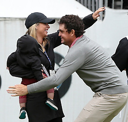 September 10, 2018 - Newtown Square, Pennsylvania, United States - Keegan Bradley hugs his wife Jillian and son Logan after winning the 2018 BMW Championship. (Credit Image: © Debby Wong/ZUMA Wire)