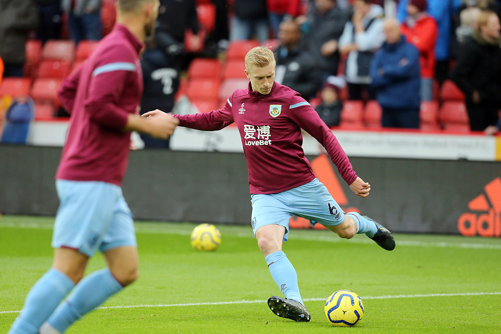 Burnley's Ben Mee during the pre-match warm-up <br /> <br /> Photographer Rich Linley/CameraSport<br /> <br /> The Premier League - Sheffield United v Burnley - Saturday 2nd November 2019 - Bramall Lane - Sheffield<br /> <br /> World Copyright © 2019 CameraSport. All rights reserved. 43 Linden Ave. Countesthorpe. Leicester. England. LE8 5PG - Tel: +44 (0) 116 277 4147 - admin@camerasport.com - www.camerasport.com