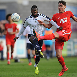 TELFORD COPYRIGHT MIKE SHERIDAN 23/3/2019 - Amari Morgan Smith of AFC Telford battles for the ball with Dan Happe of Orient during the FA Trophy Semi Final fixture between AFC Telford United and Leyton Orient at the New Bucks Head