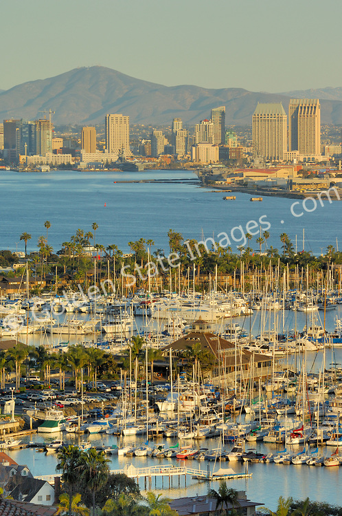 San Diego Yacht Club and Marina with the San Diego Skyline.