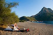 Turkey, Antalya Province, Olympos National Park Camping on the shore