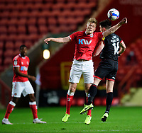 Charlton Athletic's Jayden Stockley vies for possession with Lincoln City's Joe Walsh<br /> <br /> Photographer Andrew Vaughan/CameraSport<br /> <br /> The EFL Sky Bet League One - Charlton Athletic v Lincoln City - Tuesday 4th May 2021 - The Valley - London <br /> <br /> World Copyright © 2021 CameraSport. All rights reserved. 43 Linden Ave. Countesthorpe. Leicester. England. LE8 5PG - Tel: +44 (0) 116 277 4147 - admin@camerasport.com - www.camerasport.com