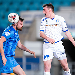BRISBANE, AUSTRALIA - SEPTEMBER 20: Eoghan Murphy of Gold Coast City and Matthew Millar of South Melbourne compete for the ball during the Westfield FFA Cup Quarter Final match between Gold Coast City and South Melbourne on September 20, 2017 in Brisbane, Australia. (Photo by Gold Coast City FC / Patrick Kearney)