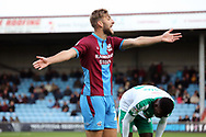 Scunthorpe United defender Charlie Goode (20) appeals to the referee  during the EFL Sky Bet League 1 match between Scunthorpe United and Plymouth Argyle at Glanford Park, Scunthorpe, England on 27 October 2018. Pic Mick Atkins