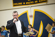 Milpitas High School Athletic Director Jeff Lamb hosts the annual Trojan Olympics, where classes compete in various unorthodox events for class bragging rights at Milpitas High School in Milpitas, California, on March 27, 2015. (Stan Olszewski/SOSKIphoto)
