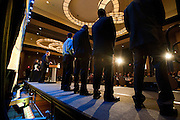 Players stand on stage after receiving their nomination certificates during SportsDayHS' third-annual football Heroes Banquet at the Omni Hotel on Thursday, January 17, 2013 in Dallas, Tx. (Cooper Neill/The Dallas Morning News)