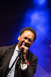 © Licensed to London News Pictures . 07/11/2015 . Manchester , UK . LEMAR ( Lemar Obika ) performs ahead of the Christmas Lights switch on at Albert Square in front of Manchester Town Hall . Photo credit : Joel Goodman/LNP