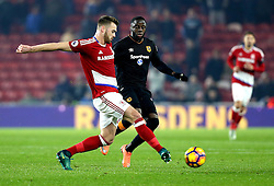 Calum Chambers of Middlesbrough is closed down by Adama Diomande of Hull City - Mandatory by-line: Robbie Stephenson/JMP - 05/12/2016 - FOOTBALL - Riverside Stadium - Middlesbrough, England - Middlesbrough v Hull City - Premier League