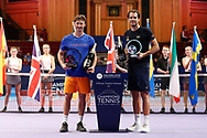 CHAMPION Juan Carlos Ferrero winner of the Men's Singles Final Champions Tennis match, Runner up Tommy Haas, at the Royal Albert Hall, London, United Kingdom on 9 December 2018. Picture by Ian Stephen.