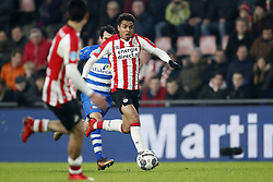 (L-R) Dirk Marcellis of PEC Zwolle, Donyell Malen of PSV during the Dutch Eredivisie match between PSV Eindhoven and PEC Zwolle at the Phillips stadium on February 03, 2018 in Eindhoven, The Netherlands