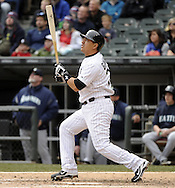 CHICAGO - APRIL 06:  Hector Gimenez #38 of the Chicago White Sox hits a sacrifice fly in the fifth inning against the Seattle Mariners  on April 06, 2013 at U.S. Cellular Field in Chicago, Illinois.  The White Sox defeated the Mariners 4-3.  (Photo by Ron Vesely)   Subject:  Hector Gimenez